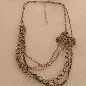 Vintage multi chain with AB clasp necklace